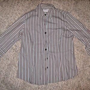 Brown White Aqua Blue Stripe Stretch Button Shirt